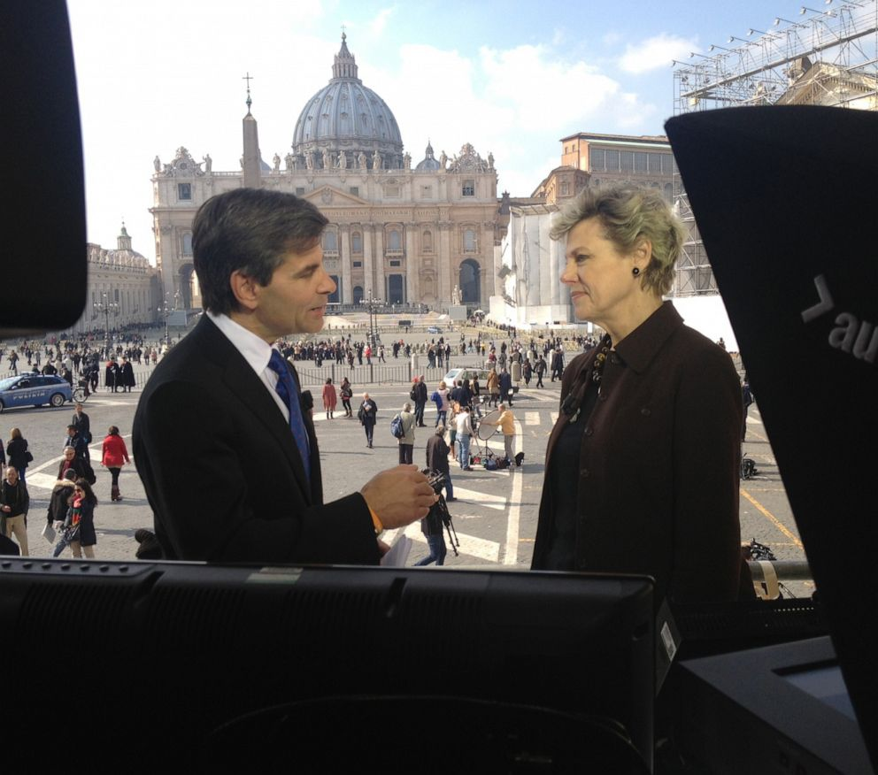 PHOTO: George Stephanopoulos and Cokie Roberts are shown during coverage from Vatican City in Rome, Italy, of the resignation of Pope Benedict XVI and the selection of his successor, Feb. 28, 2013.