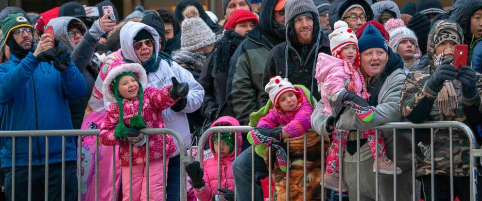 PHOTO: The crowd bundles up against the cold to watch the 92nd Annual Macys Thanksgiving Day Parade on Nov. 22, 2018, in New York.