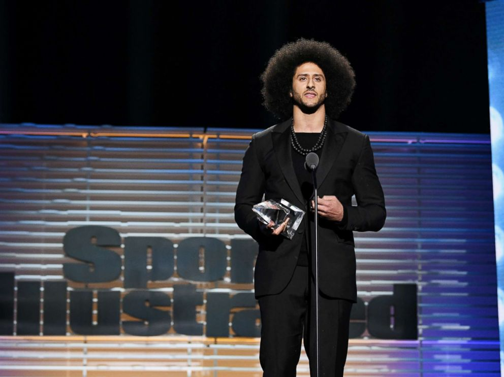 PHOTO: Colin Kaepernick receives the SI Muhammad Ali Legacy Award during Sports Illustrated Sportsperson of the Year Show on Dec. 5, 2017, in New York City.