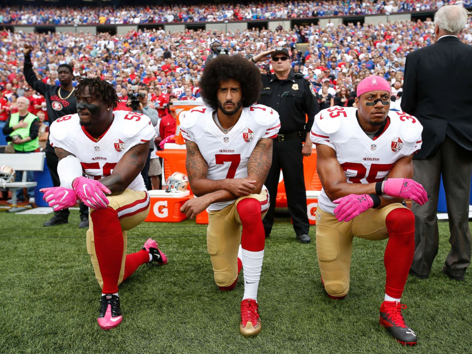 4bf8b7706857 Taking a knee wasn't the first time athletes protested social injustice on  the field - ABC News
