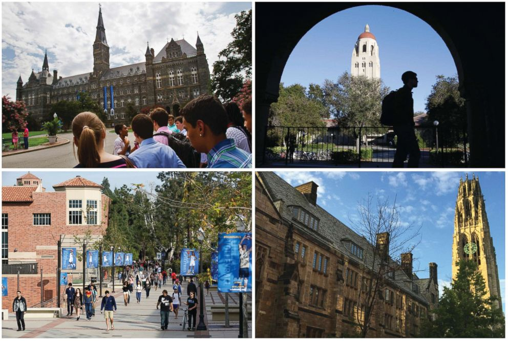 PHOTO: This combination of images shows the university's campus, clockwise from upper left, Georgetown University, Stanford University, Yale University and the University of California, Los Angeles.