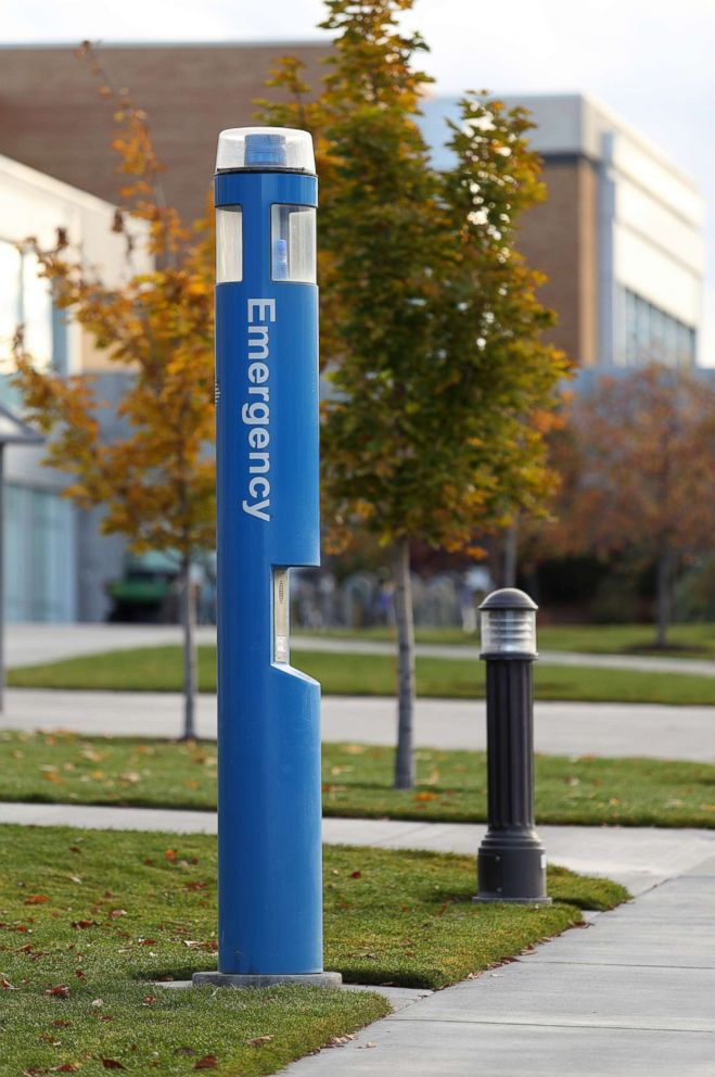 PHOTO: An emergency call box located on a university campus is pictured in this undated stock photo.