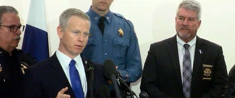 PHOTO: District Attorney George Brachler speaks at a press conference, May 8, 2019, regarding a shooting at the STEM School Highlands Ranch the previous day in Highlands Ranch, Colo.