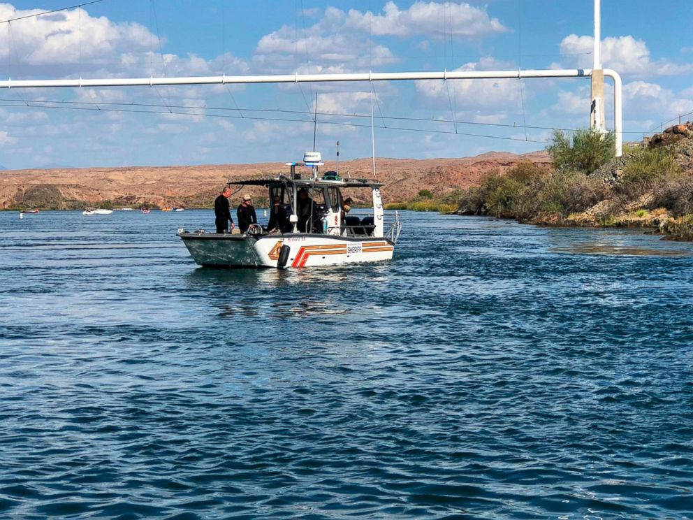 In this photo released by the San Bernardino County, Calif., Sheriffs Office, shows search and recovery operations Monday, Sept. 3, 2018, for three people missing after two boats collided Saturday evening on the Colorado River near Topock, Ariz.