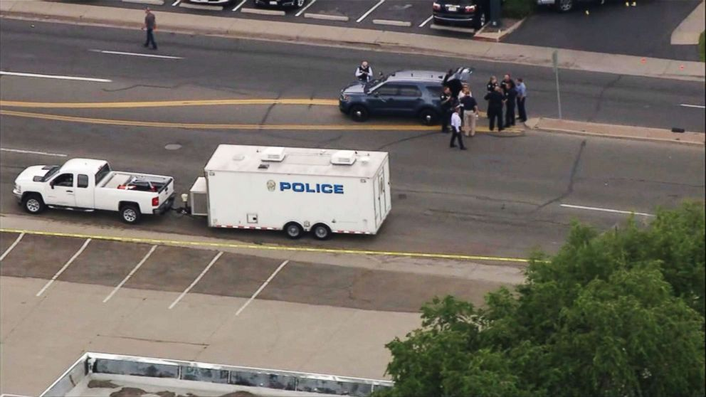 PHOTO: Police on the scene at a shooting in a Colorado business complex in Westminster, Colo., June 14, 2018.