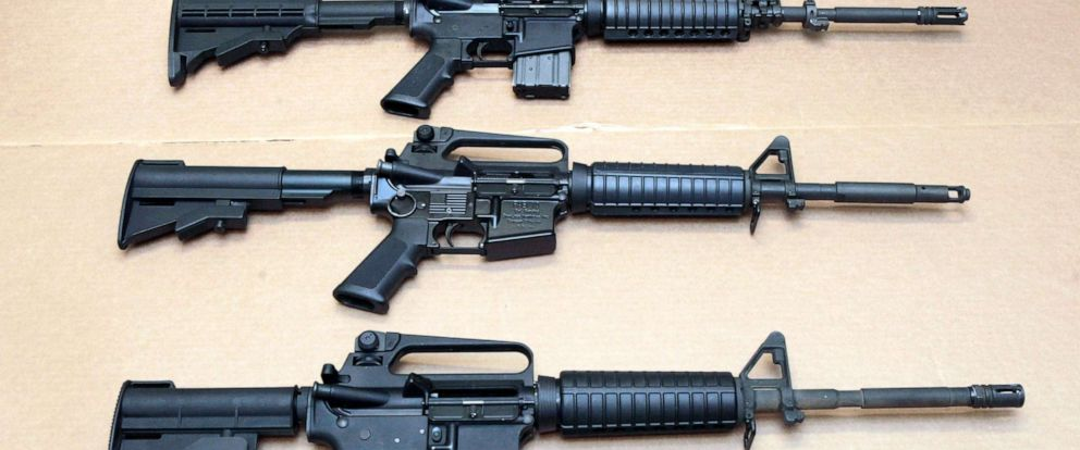 PHOTO: In this Aug. 15, 2012 file photo, three variations of the AR-15 rifle are displayed at the California Department of Justice in Sacramento, Calif.