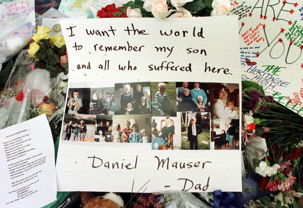 PHOTO: A tribute to Columbine High School shooting victim Daniel Mauser lies at the scene of a memorial to victims of the shooting, April 23, 1999.