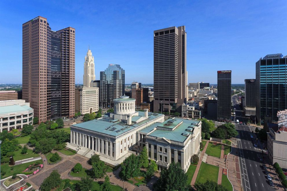 PHOTO: An aerial image of the capitol building in downtown Columbus, Ohio is seen here.
