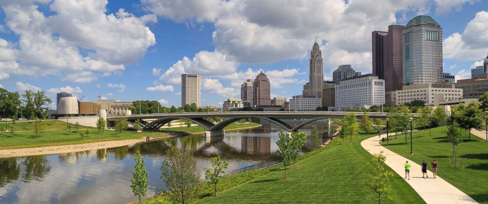 PHOTO: Scioto Mile Park and the skyline of downtown Columbus, Ohio is seen here.
