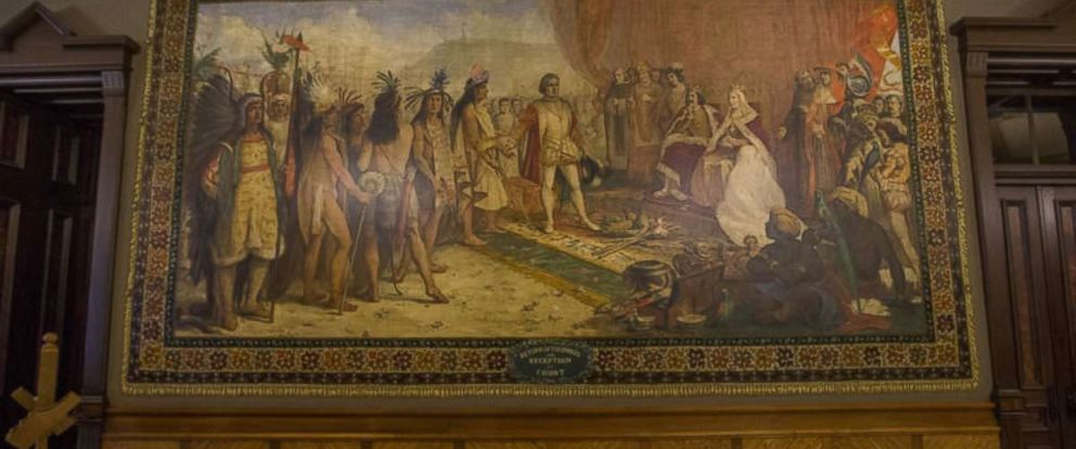PHOTO: A mural of Christopher Columbus in the Main Building at the University of Notre Dame.