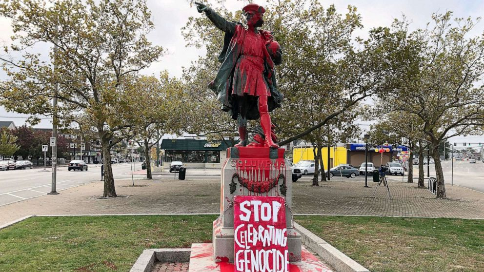 Statues of Christopher Columbus vandalized amid controversy over the holiday thumbnail
