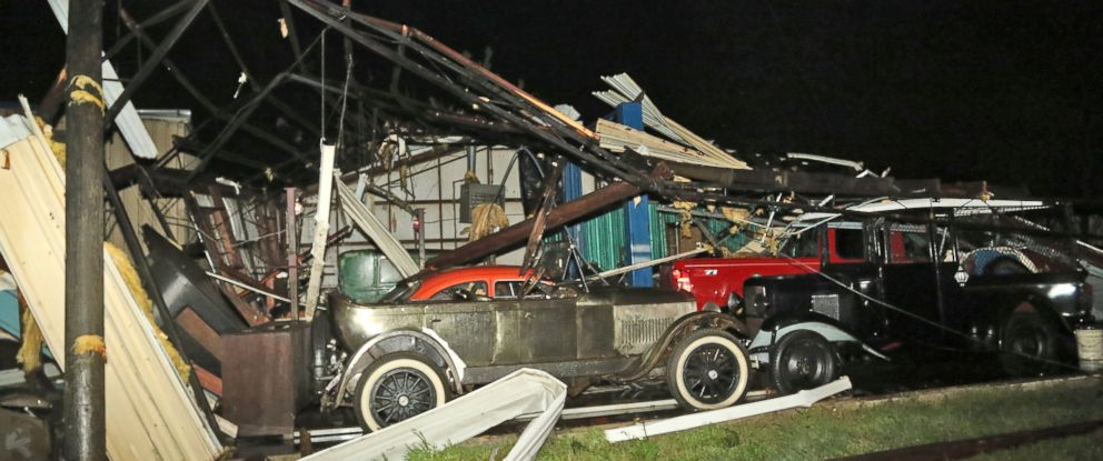 PHOTO: This photo shows damage at Lawrence Motors in Columbus, Miss., Saturday, Feb. 23, 2019, after a reported tornado in the citys downtown area.
