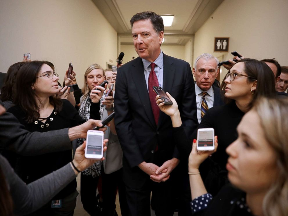 PHOTO: James Comey is surrounded by reporters after testifying to the House Judiciary and Oversight and Government Reform committees on Capitol Hill, Dec. 7, 2018.