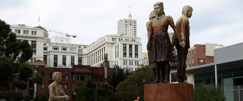 PHOTO: A view of the Comfort Women Column of Strength statue, Oct. 3, 2018, in San Francisco, Calif.