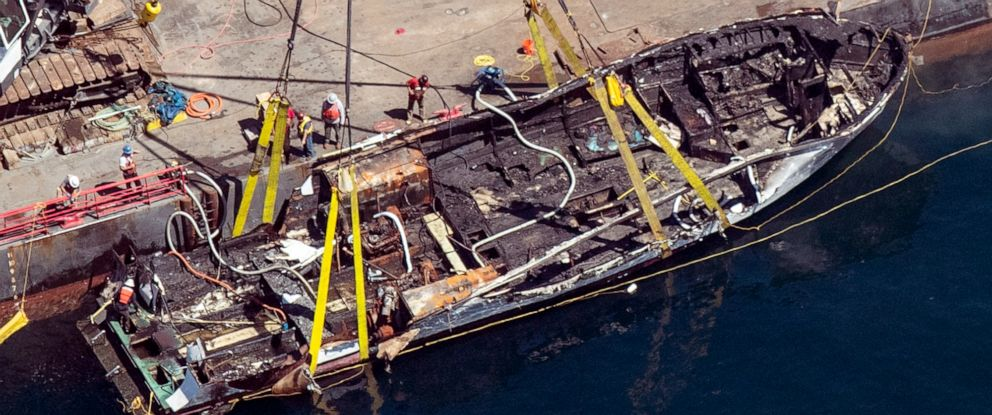 PHOTO: The burned hull of the Conception is brought to the surface by a salvage team, Thursday, Sept. 12, 2019, off Santa Cruz Island, Calif., in the Santa Barbara Channel in Southern California.