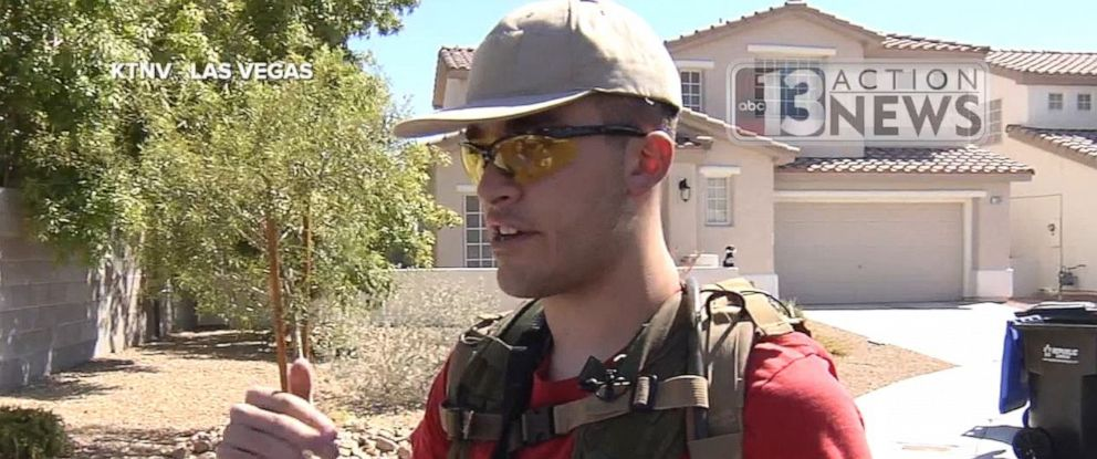 PHOTO: Conor Climo, 23, seen here in 2016, was arrested and charged with plotting to bomb a synagogue or gay club in Las Vegas on Thursday, Aug. 8, 2019. In 2016, he was patrolling his neighborhood with an assault rifle.