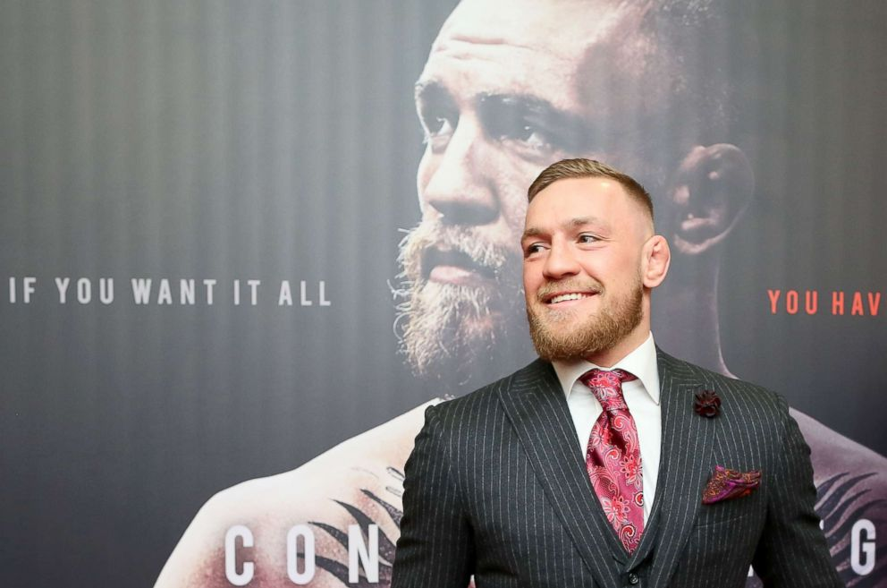 PHOTO: Irish mixed martial arts star Conor McGregor poses upon arrival to attend the world premiere of the documentary film Conor McGregor: Notorious at the Savoy Cinema in Dublin, Ireland, Nov. 1, 2017.