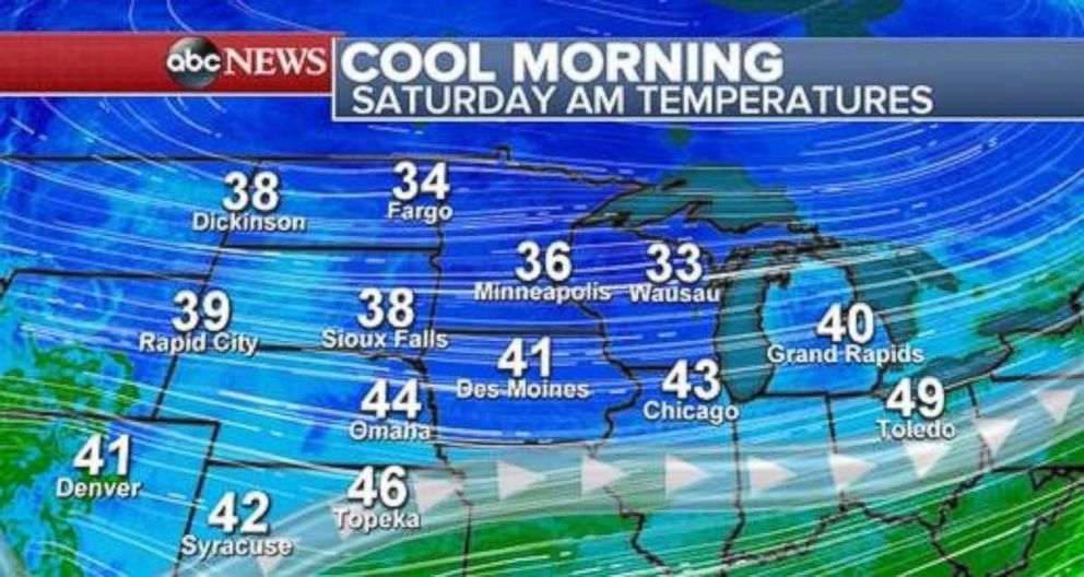 PHOTO: Temperatures are in the 30s and 40s across the northern U.S. on Saturday morning.