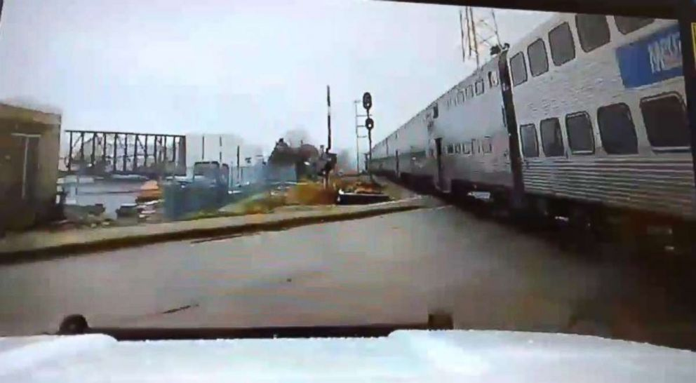 PHOTO: A police officer in Mokena, Ill., narrowly avoided tragedy when he swerved to avoid being hit by a commuter train due to a technical malfunction in November 2018.