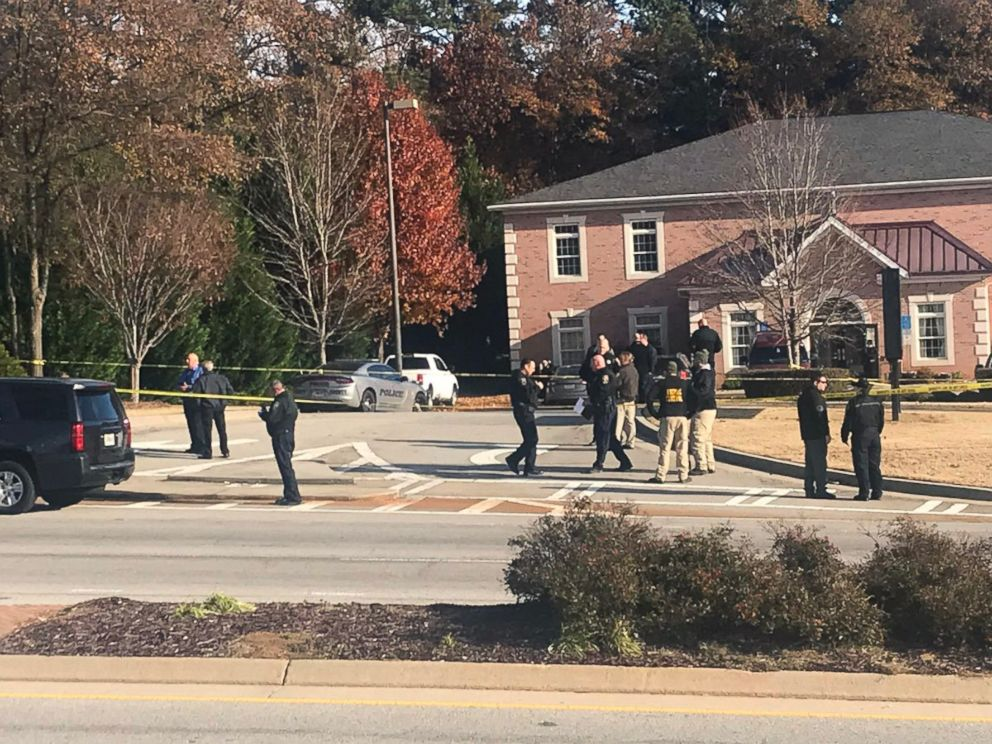 PHOTO: Officials on the scene outside Atlanta, where an officer was shot, Dec. 6, 2018.
