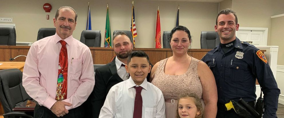 Joseph DeMichele and Feliece Terwilliger were given a ride to their wedding by Suffolk County, N.Y., police after getting into a car accident on the way to the ceremony on Saturday, Dec. 22, 2018.