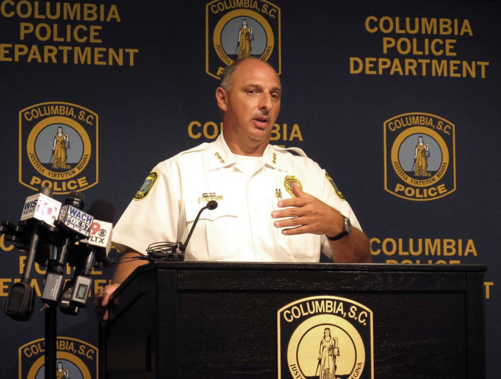 Columbia Police Chief Skip Holbrook talks Thursday, Aug. 23, 2018, in Columbia, S.C., about an investigation into the heat-related death of police dog Turbo in July.