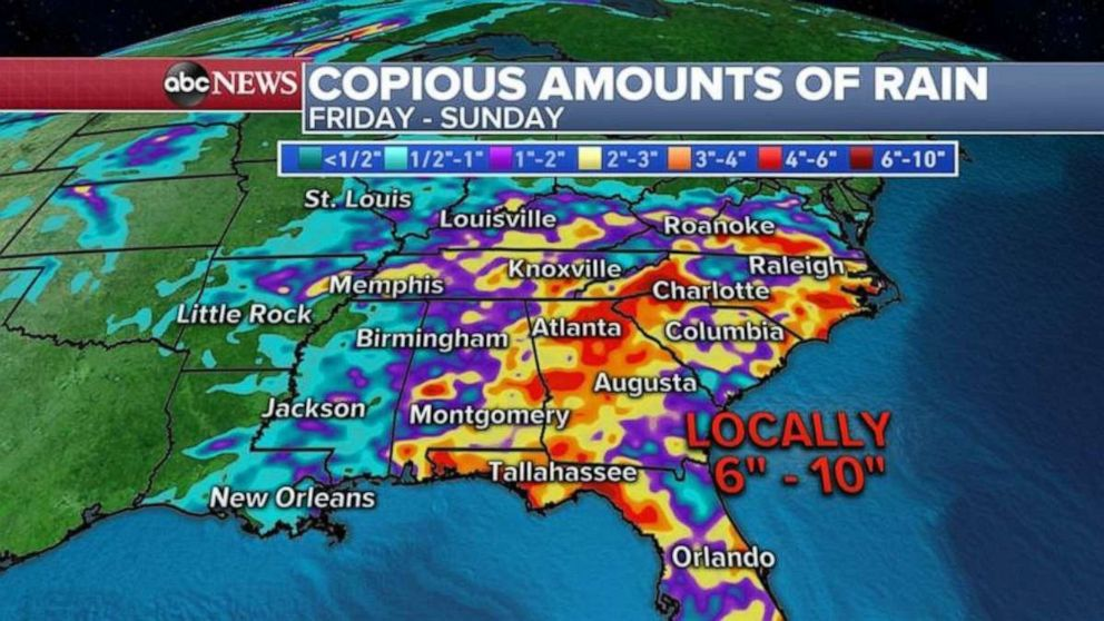 PHOTO: Heavy rain, as much as 6 to 10 inches, is possible in parts of the Southeast, especially Georgia and the Carolinas.