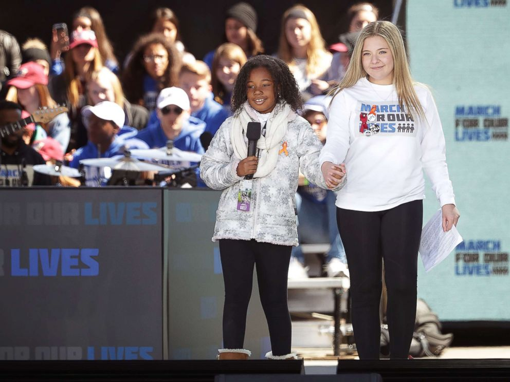 PHOTO: Marjory Stoneman Douglas High School Student Jaclyn Corin ,right, and Yolanda Renee King, granddaughter of Dr. Martin Luther King, Jr. addresses the March for Our Lives rally, March 24, 2018, in Washington, D.C.