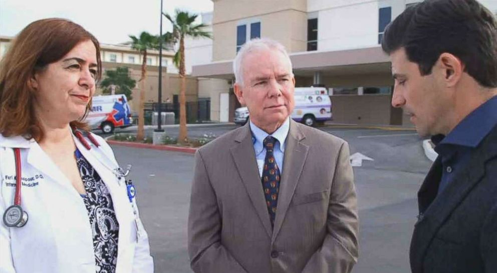 PHOTO: Corona Regional Medical Center Director of Internal Medicine Dr. Fari Kamalpour and CEO Mark Uffer discuss the treatment of the seven adults siblings who California authorities found being held captive.
