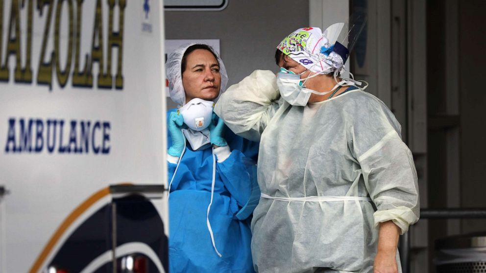 Medical workers take in patients outside of a special coronavirus intake area at Maimonides Medical Center,