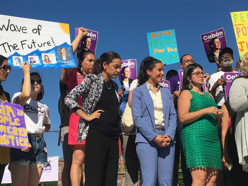 PHOTO: Rep. Alexandria Ocasio-Cortez and other elected leaders and activists hold a rally for Tiffany Cabans campaign for Queens District Attorney on June 23, 2019, two days ahead of the June 25 Democratic primary.