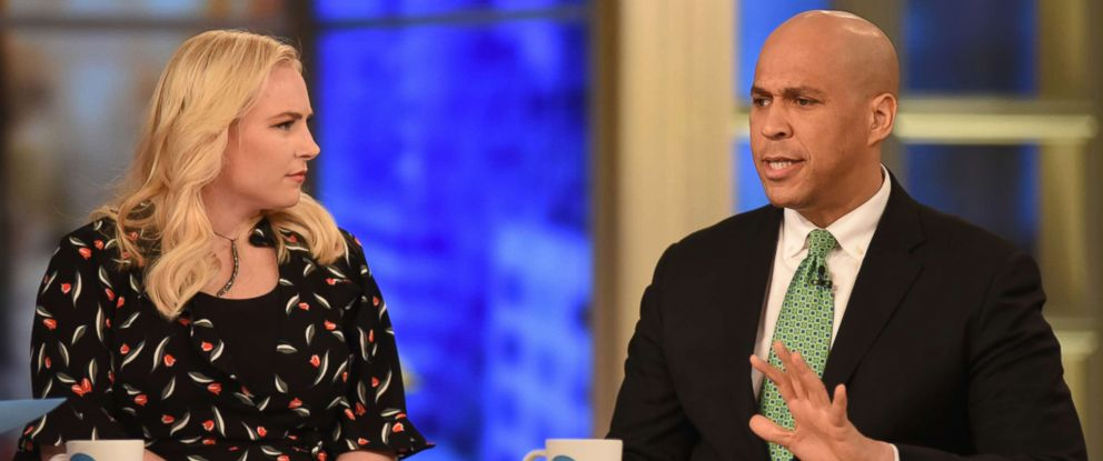 """PHOTO: Co-host Meghan McCain and Senator Cory Booker appear on """"The View,"""" March 19, 2018."""