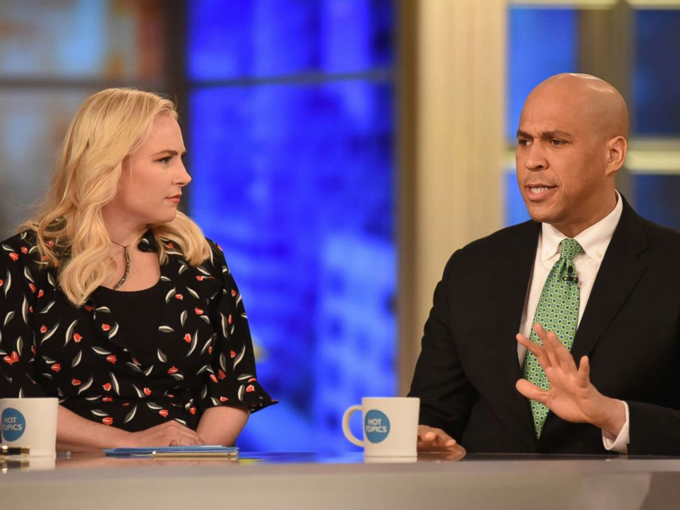 PHOTO: Co-host Meghan McCain and Senator Cory Booker appear on The View, March 19, 2018.