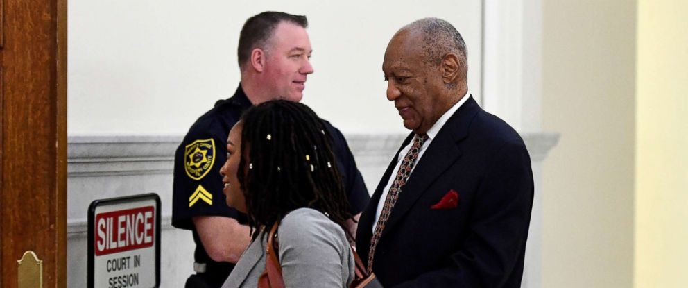 PHOTO: Bill Cosby, walks to courtroom for his sexual assault retrial case at the Montgomery County Courthouse in Norristown, Penn., April 13, 2018.