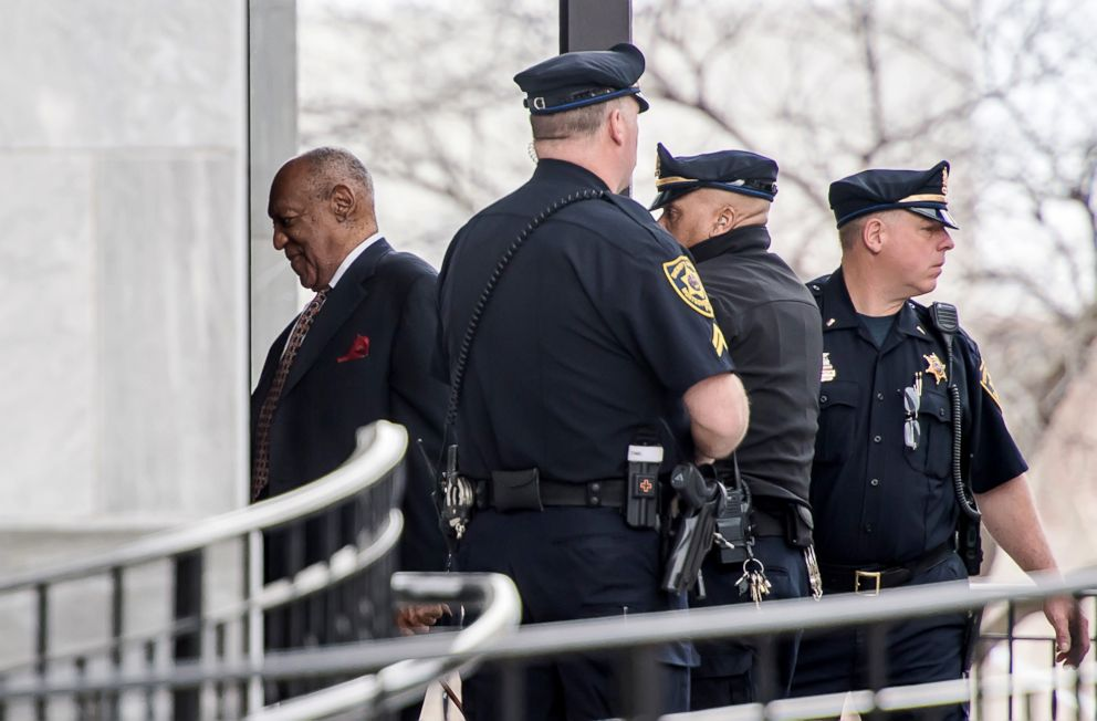 PHOTO: Bill Cosby arrives to Montgomery County Courthouse for the fifth day of his retrial for sexual assault charges, April 13, 2018, in Norristown, Penn.