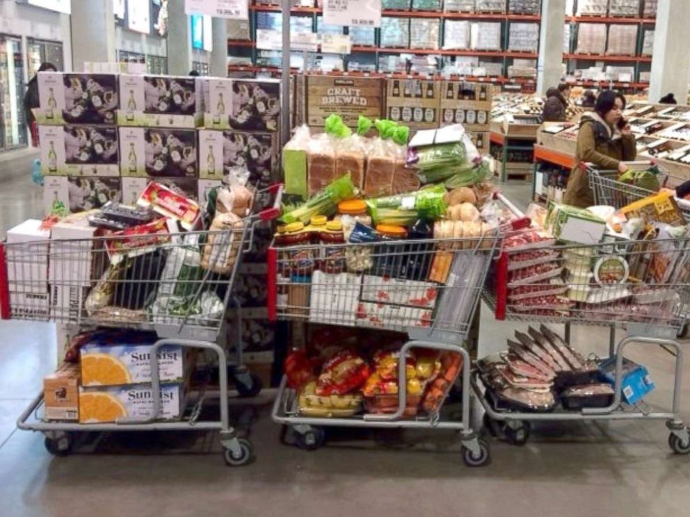 PHOTO: Grocery carts at a Costco in South Korea are full of food for U.S. Ski and Snowboard athletes.