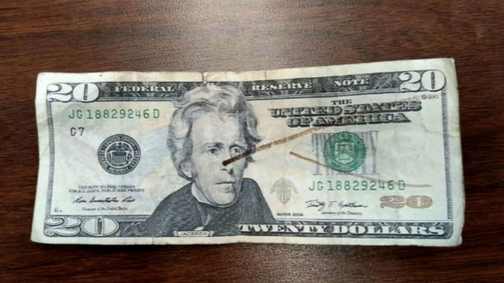 PHOTO: The counterfeit $20 bill is pictured.
