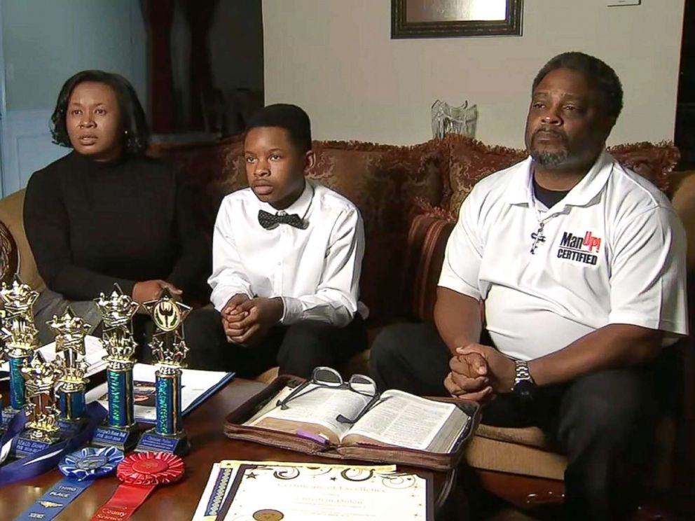 PHOTO: Austin Philon, 12, an honor student at Austin Road Middle School in Stockbridge, Georgia, and his parents, Gwen and Earvin Philon, are appealing the10-day in-school suspension he got for unknowingly using a fake $20 bill to buy his school lunch.