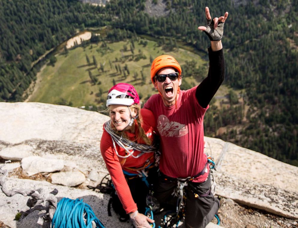 PHOTO: Climber Emily Harrington and mountaineer Adrian Ballinger at the top of El Capitan in Yosemite Naitonal Park.