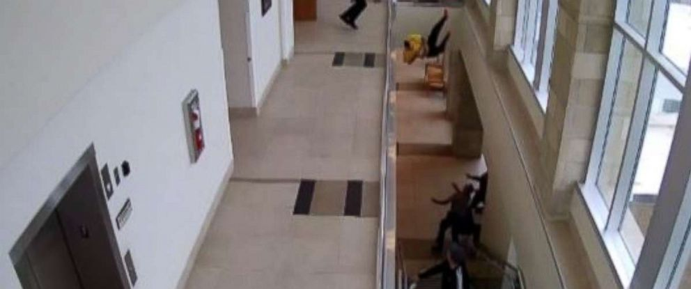 A man facing drug charges bolted from a courtroom in Utah and flung himself over a railing.