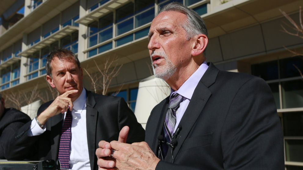 Craig Coley, right, who spent 39 years in prison for a murder he didn't commit, talks with reporters Thursday, Feb. 15, 2018, in Sacramento, Calif.
