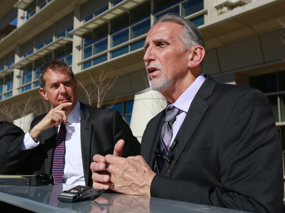 PHOTO: Craig Coley, right, who spent 39 years in prison for a murder he didnt commit, talks with reporters Thursday, Feb. 15, 2018, in Sacramento, Calif.