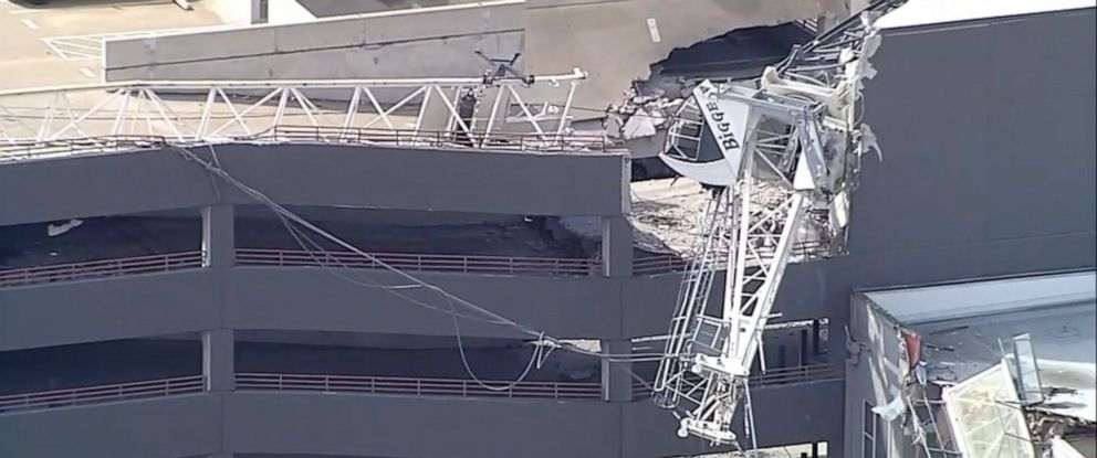 PHOTO: A crane collapsed in Dallas, Texas, June 29, 2019.