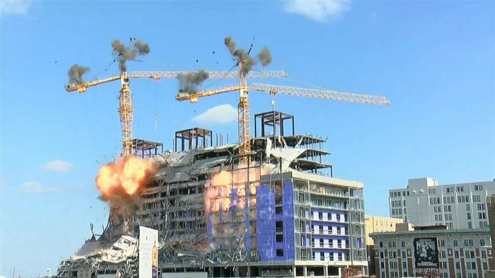 Controlled demolition takes down 1 crane looming over New Orleans Hard Rock Hotel thumbnail