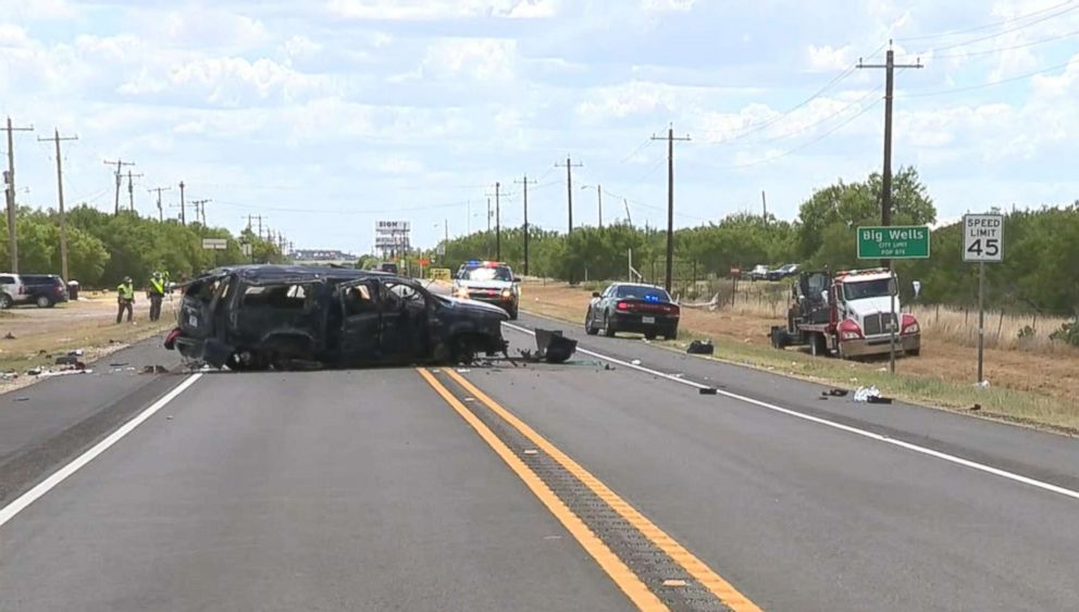 PHOTO: Five undocumented immigrants were killed when an SUV they were in crashed by being chased by border patrol agents near Big Wells, Texas, June 17, 2018.