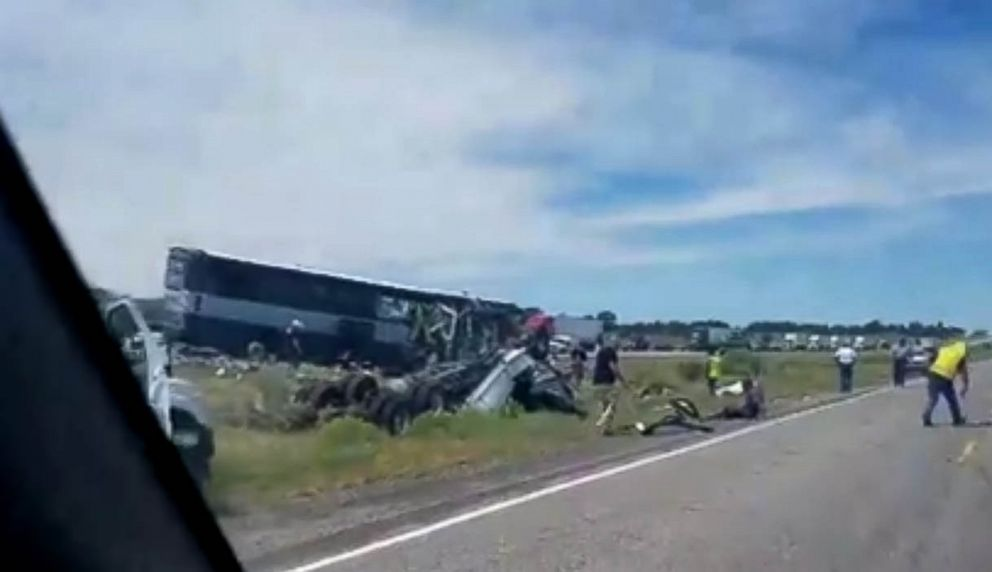 A bus and semi-truck crashed into each other on Interstate 40 in Thoreau, N.M., Aug. 30, 2018.