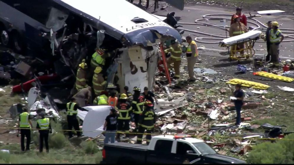 Multiple fatalities and injuries reported in Greyhound versus semi accident