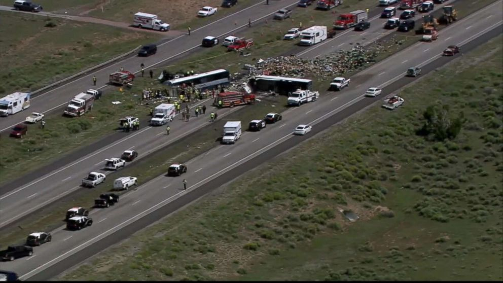 Wreckage on Highway After Deadly Collision Between Passenger Bus and Semi Truck