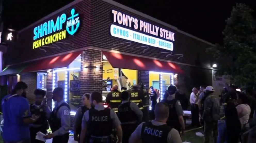 PHOTO: A woman was killed when an off-duty police officer crashed into a restaurant in Chicago on Sunday, June 9, 2019. He has been charged with DUI, police said.