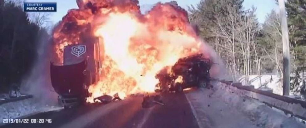 An 18-year-old man is recovering at the hospital after a head-on collision with a semitruck, which was captured by another vehicles dashcam.